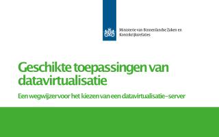 Brochure: Geschikte toepassingen van datavirtualisatie